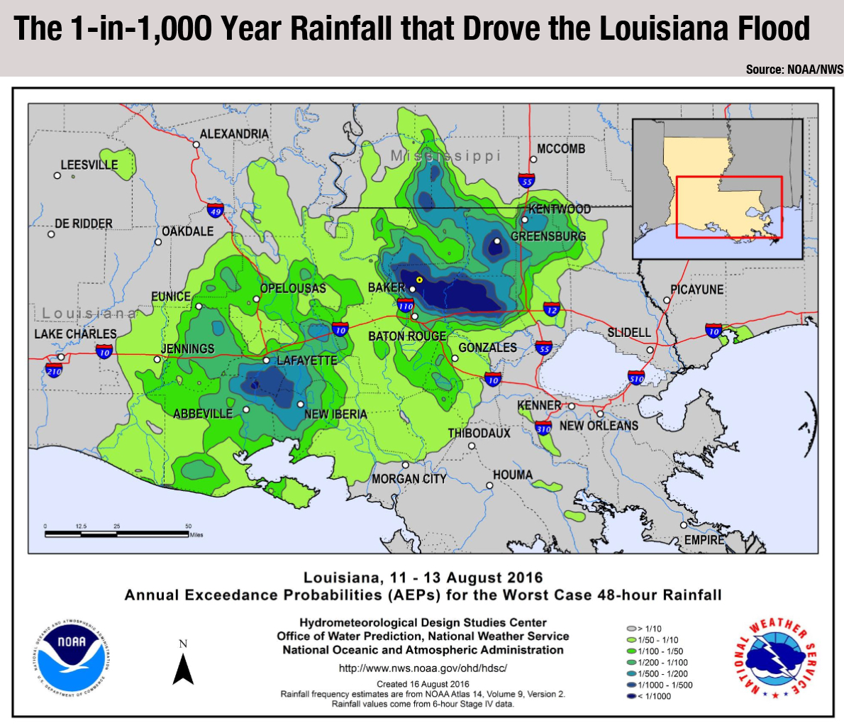 Climate Signals Map Louisiana annual exceedance for the worst