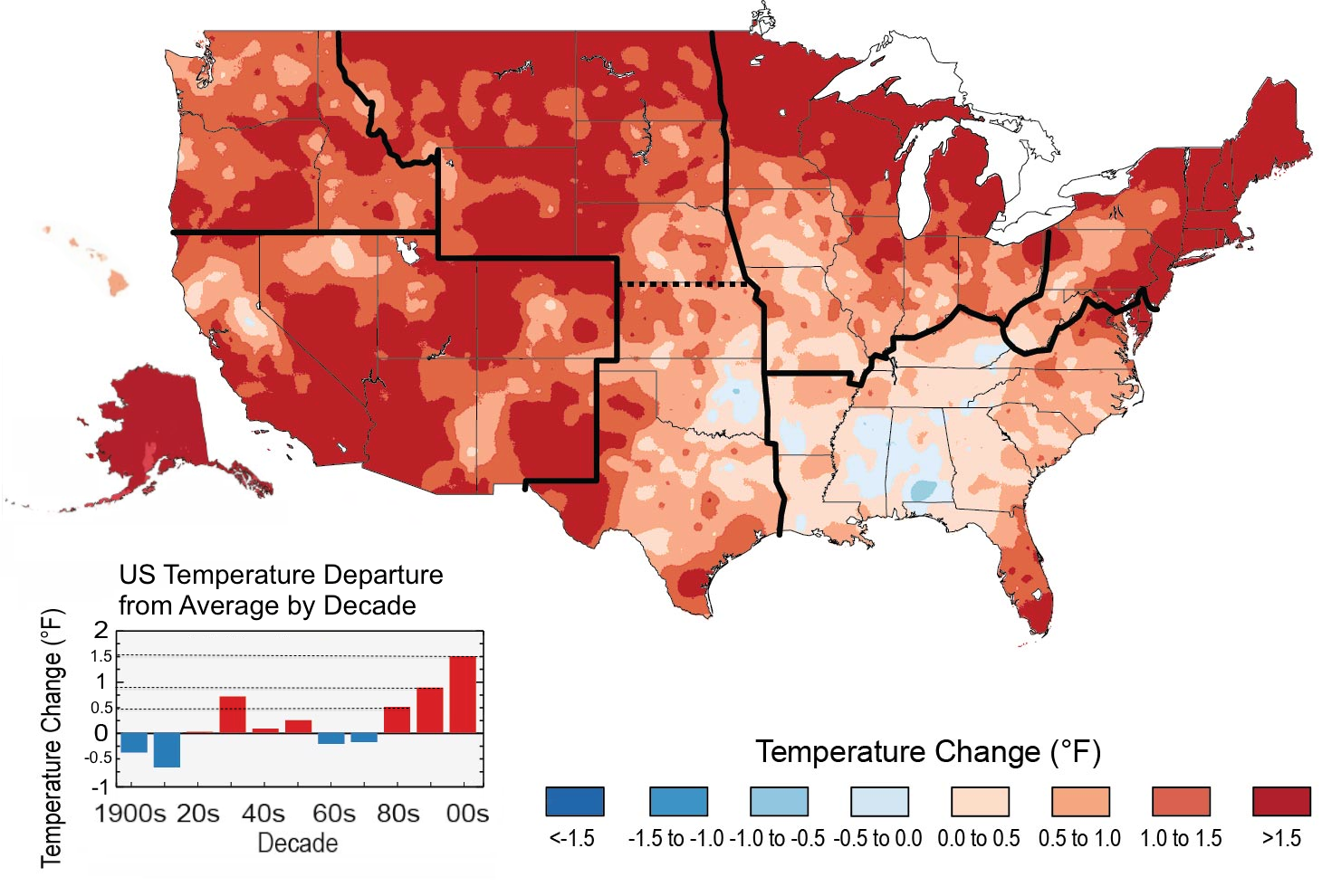 Climate Signals Map Observed US Temperature Changes - Alaska over the us map