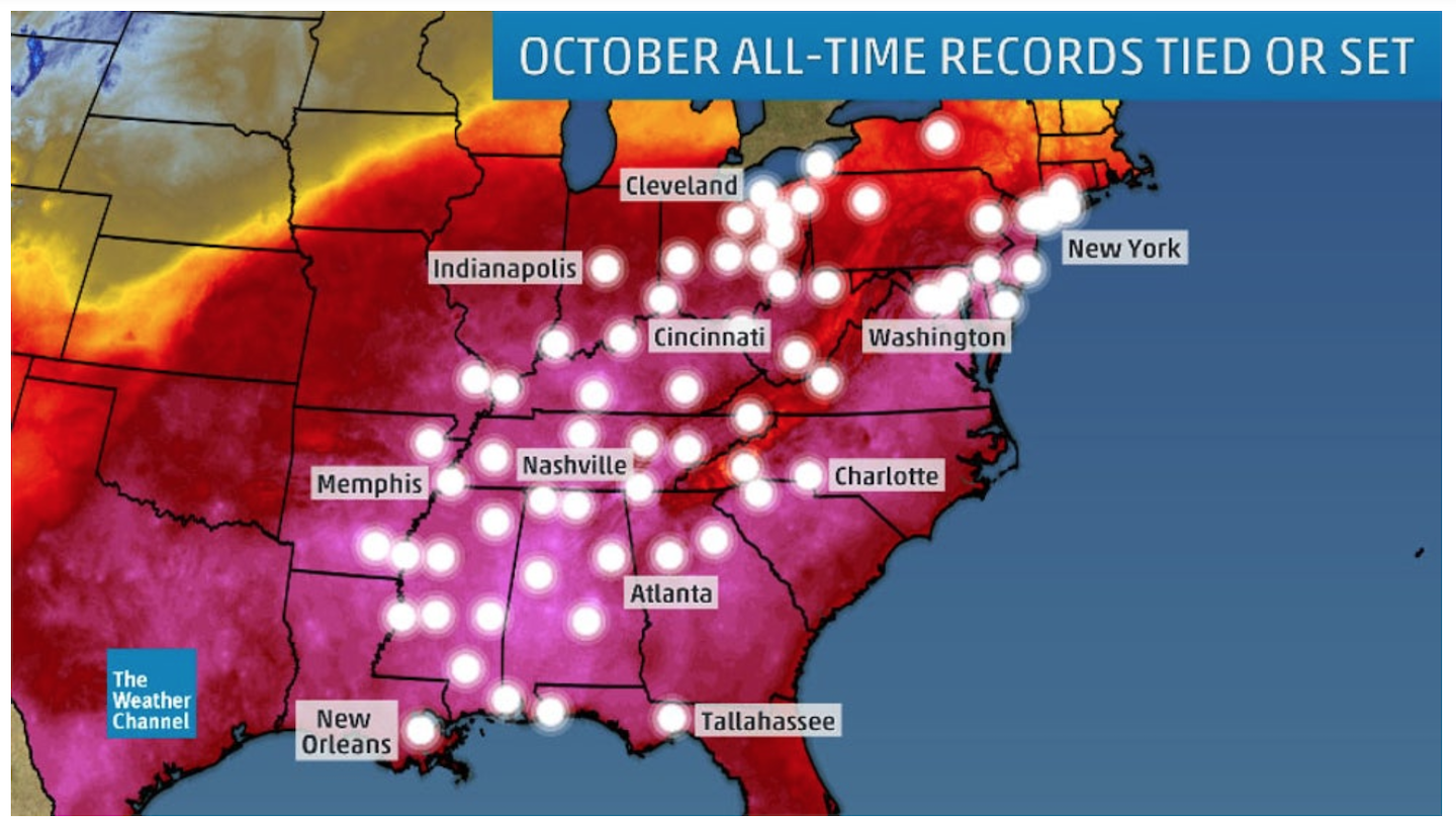 Climate Signals October 2019 Cities Breaking All Time Monthly Temperature Records