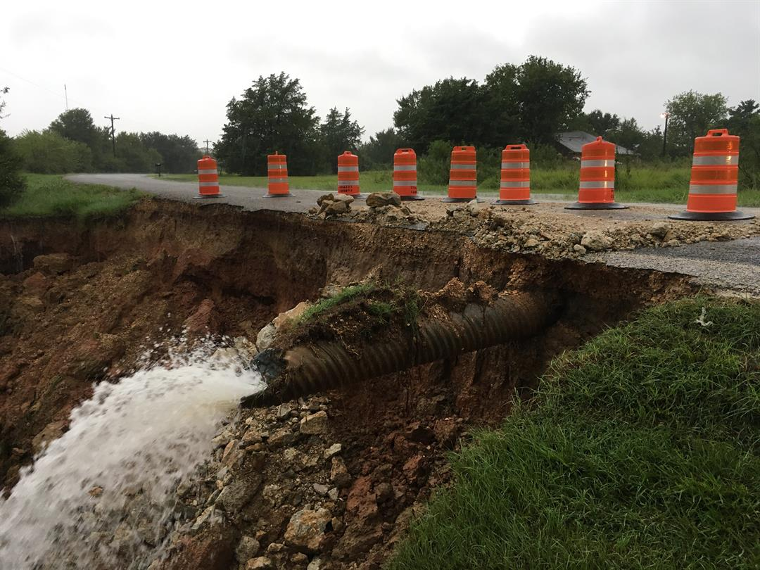 McAllester Lane was compromised on August 27th, 2017 by instability of excavation near the roadway due to the amount of rainfall received in the previous 24-hour period. Photo: KXXV