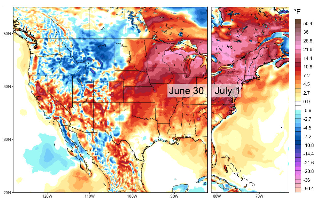 Climate Signals | Map: Central and Eastern US Forecast, June ...