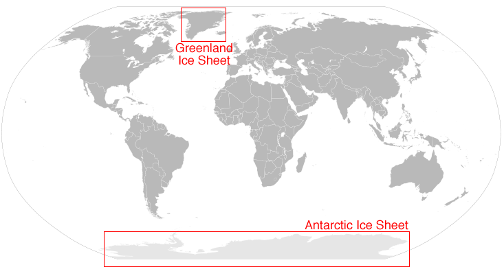 map greenland and antarctic ice sheets