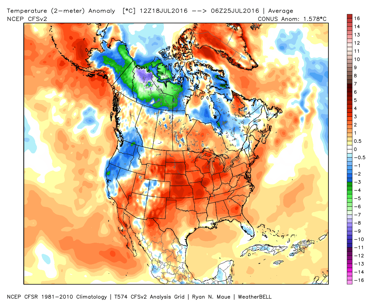 Climate Signals Map US Temperature Anomaly From July Through - Us july temperature map