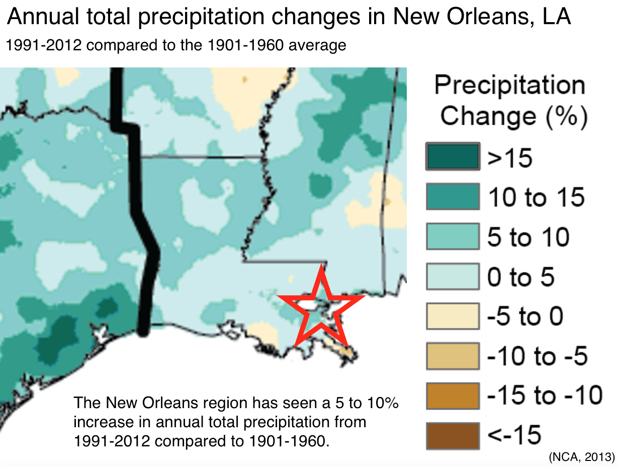 Climate Signals | Map: Observed precipitation changes in New Orleans, LA
