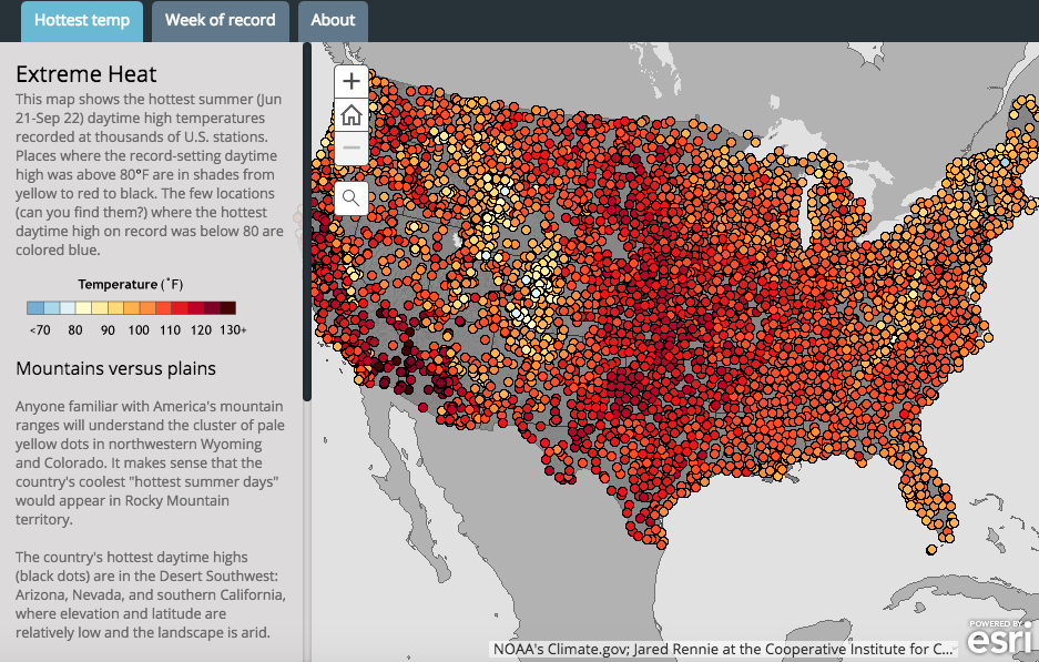 Climate Signals Interactive Map History of the hottest summer day