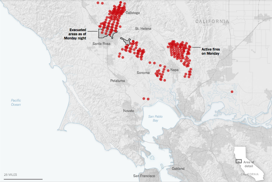 Climate Signals Map Active Fires On Monday And Evacuated Areas As