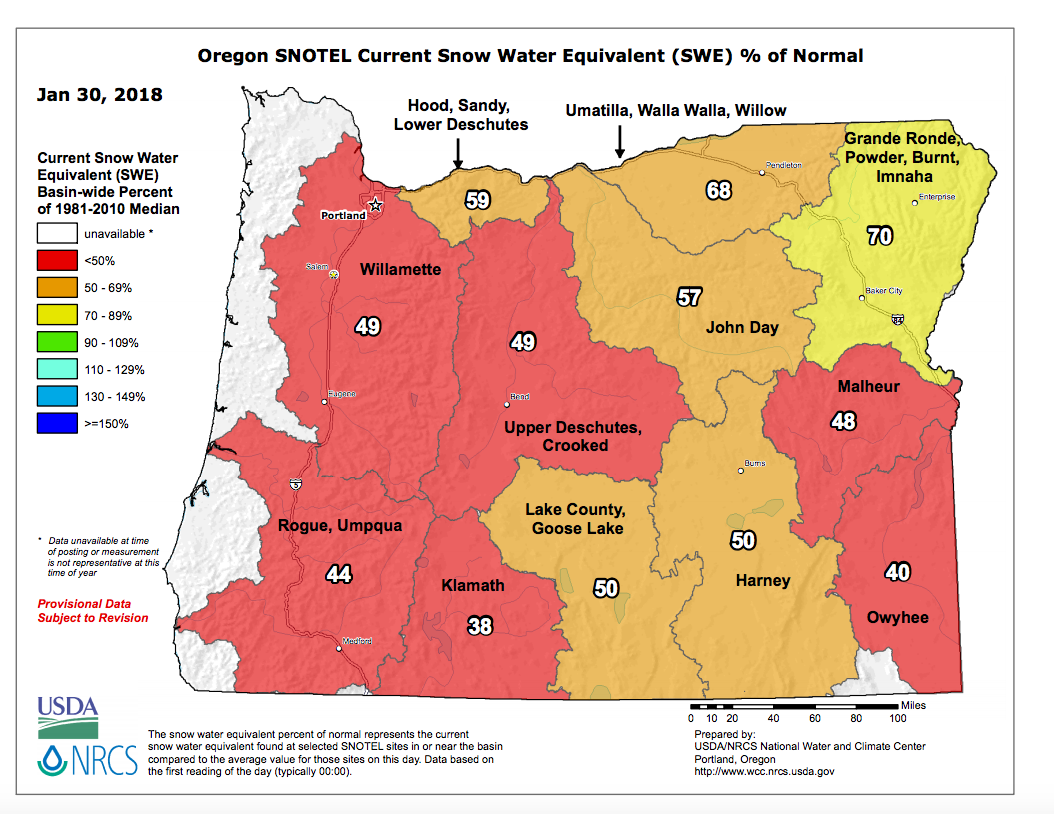 Climate Signals | Map: Oregon SNOTEL Current Snow Water Equivalent on