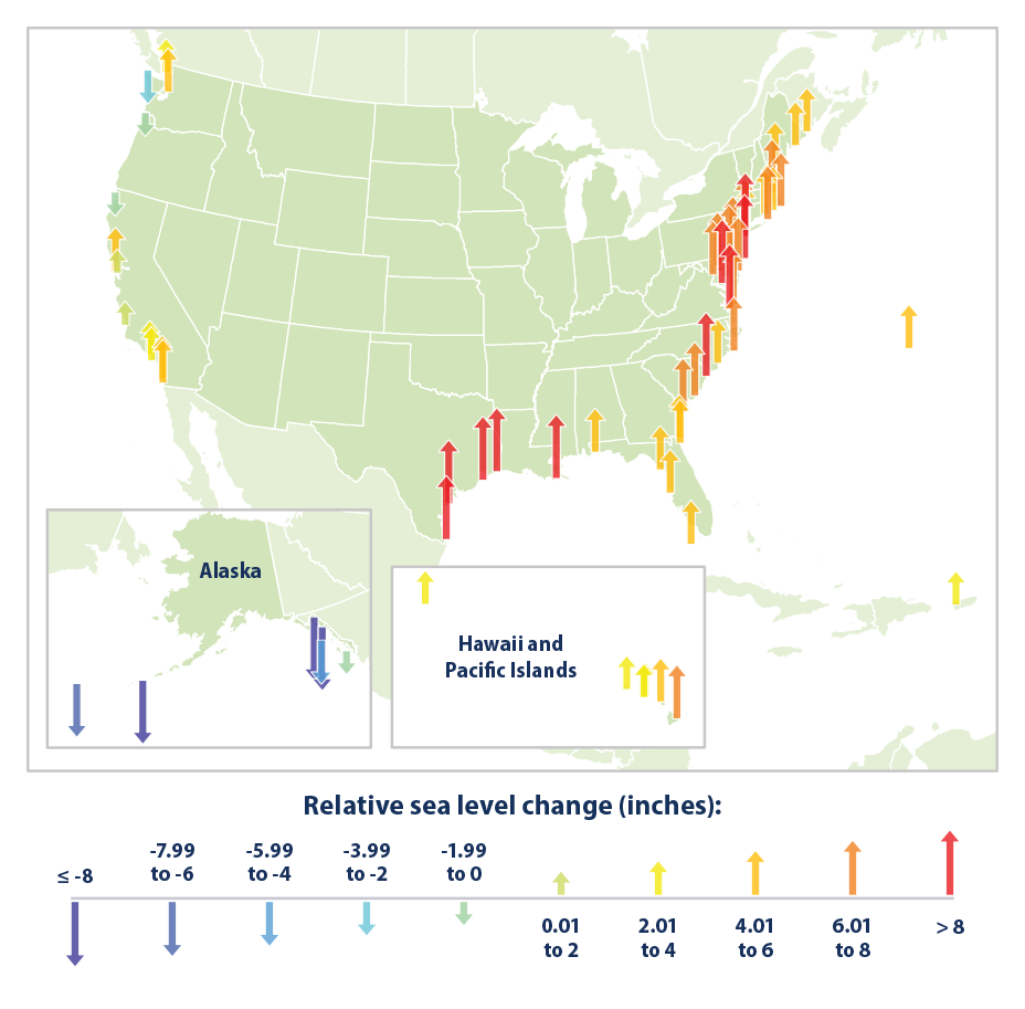 Climate Signals Map Relative Sea Level Change Along US Coasts - Us sea level map