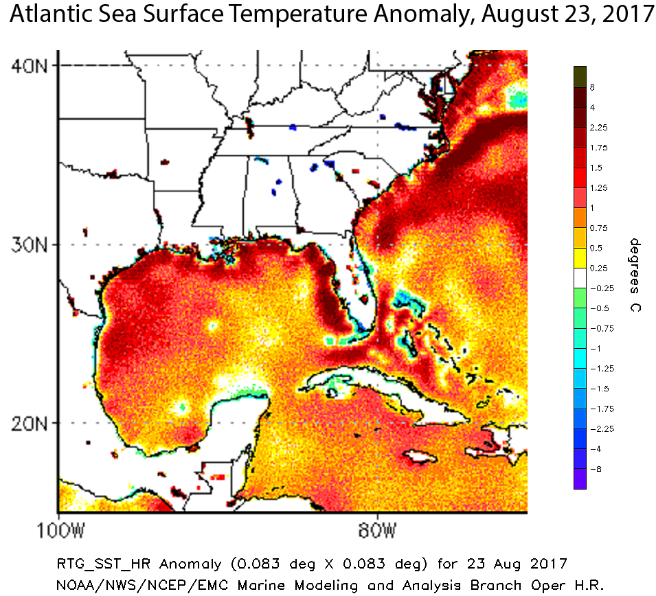 Climate Signals Map Atlantic Sea Surface Temperature Anomaly - Mexico temperature map