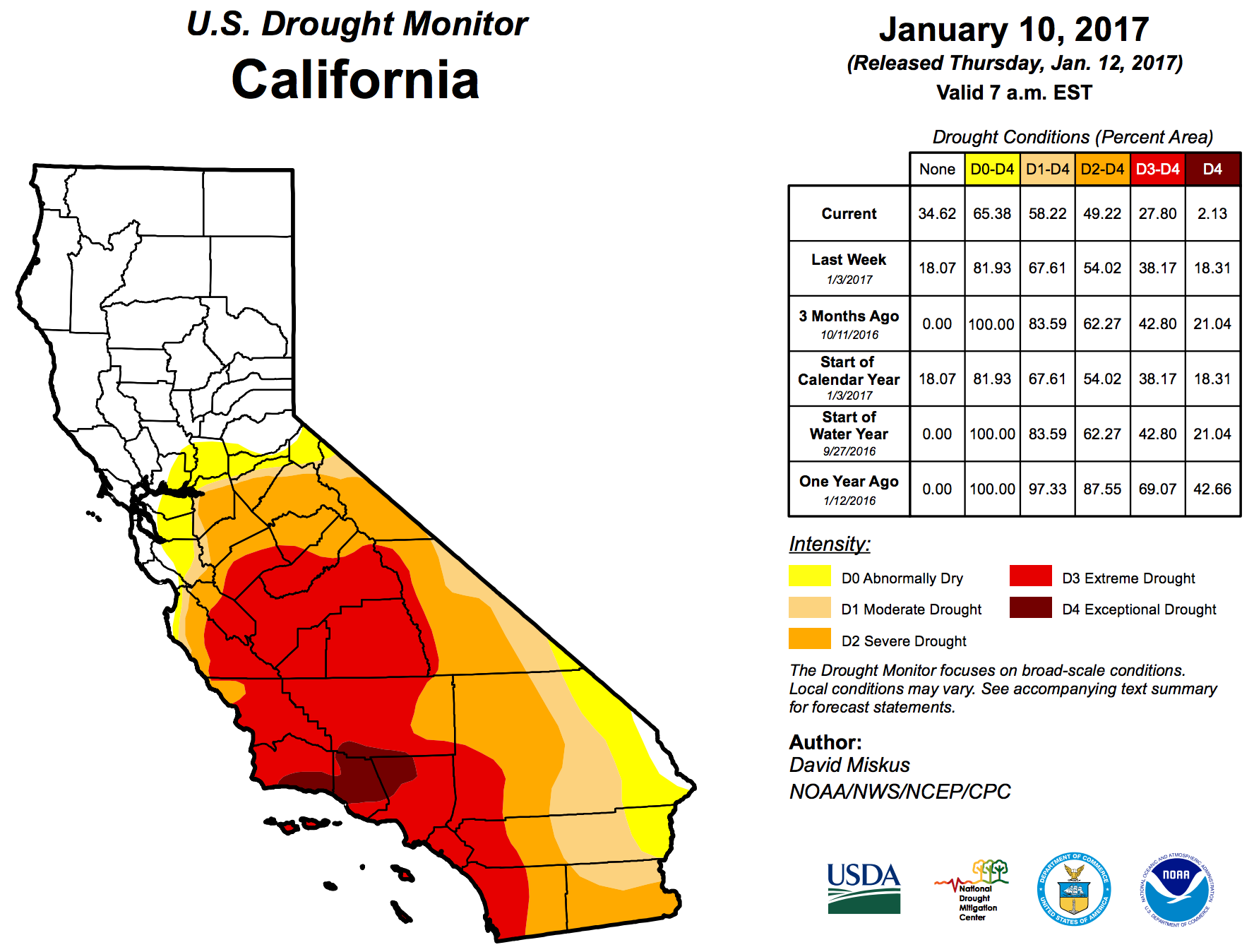 Climate Signals | Map: US Drought Monitor California, January 10, 2017