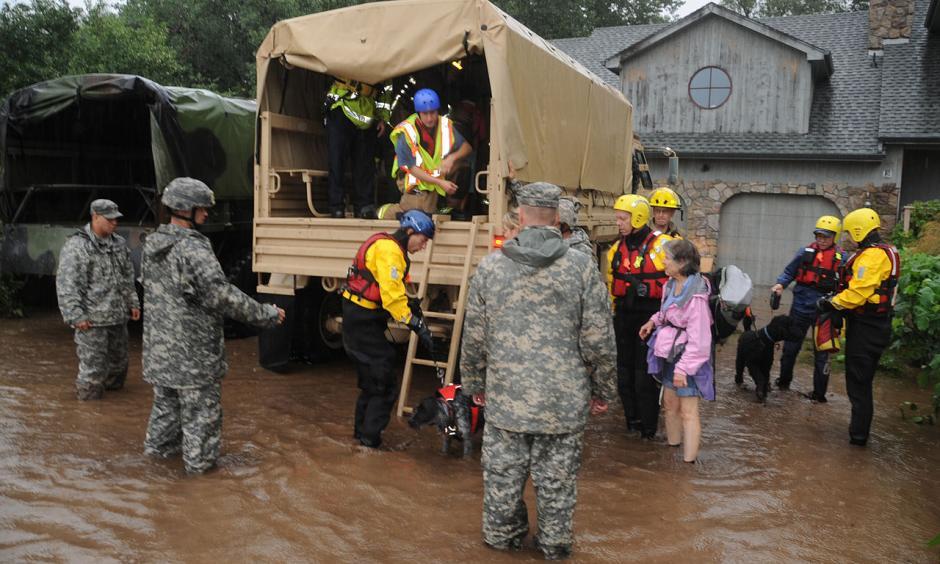 Colorado National Guardsmen respond to floods in Boulder County. Photo: Sgt. Joseph K. VonNida, Wikipedia