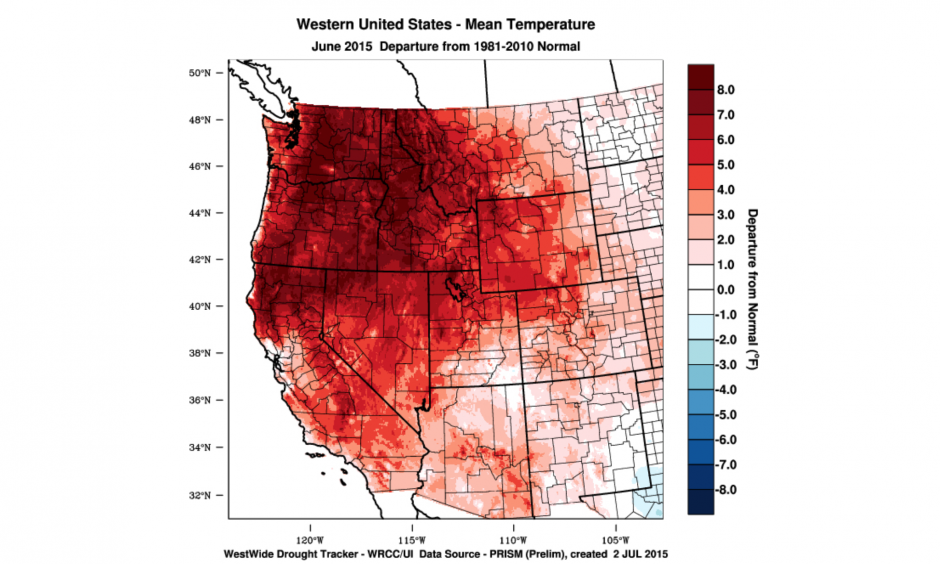 This chart of the West Coast of the United States reflects the June 2015 temperature departure from normal. Photo: WestWide Drought Tracker, Western Region Climate Center and University of Idaho
