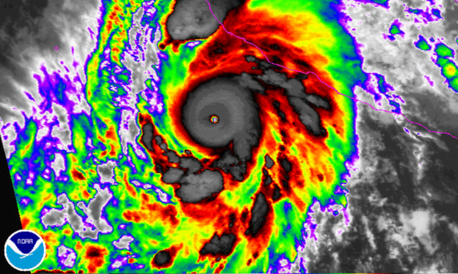 Hurricane Patricia, near peak strength, as it approached Mexico's west coast on Friday morning. Image: NOAA