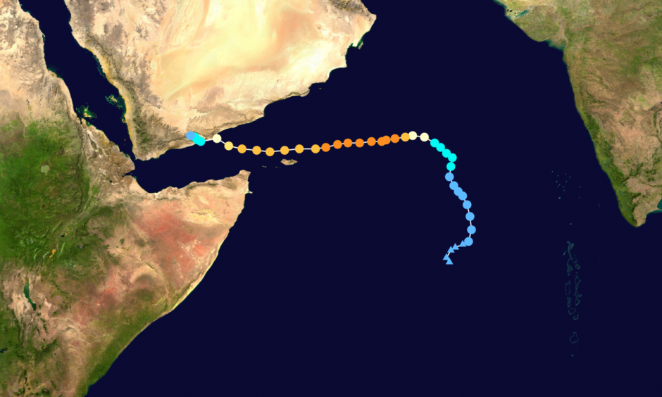 Track map of Extremely Severe Cyclonic Storm Chapala of the 2015 North Indian Ocean cyclone season. Image: Keith Edkins