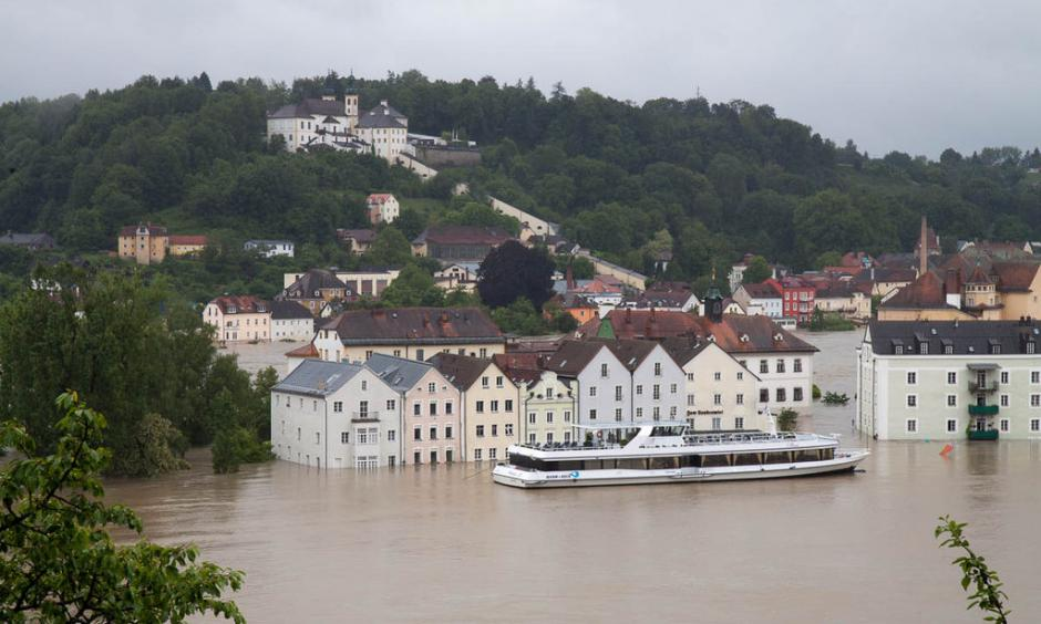 Flooding in Passau, Bavaria where the Danube, Inn and Ilz rivers converge. Photo: Stefan Penninger