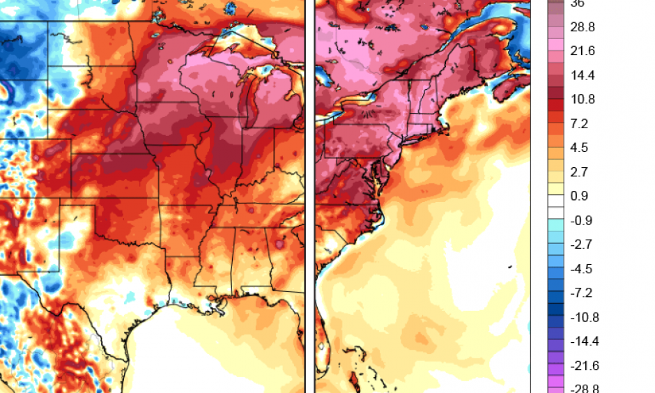 climate signals central and eastern us heat wave june july 2018