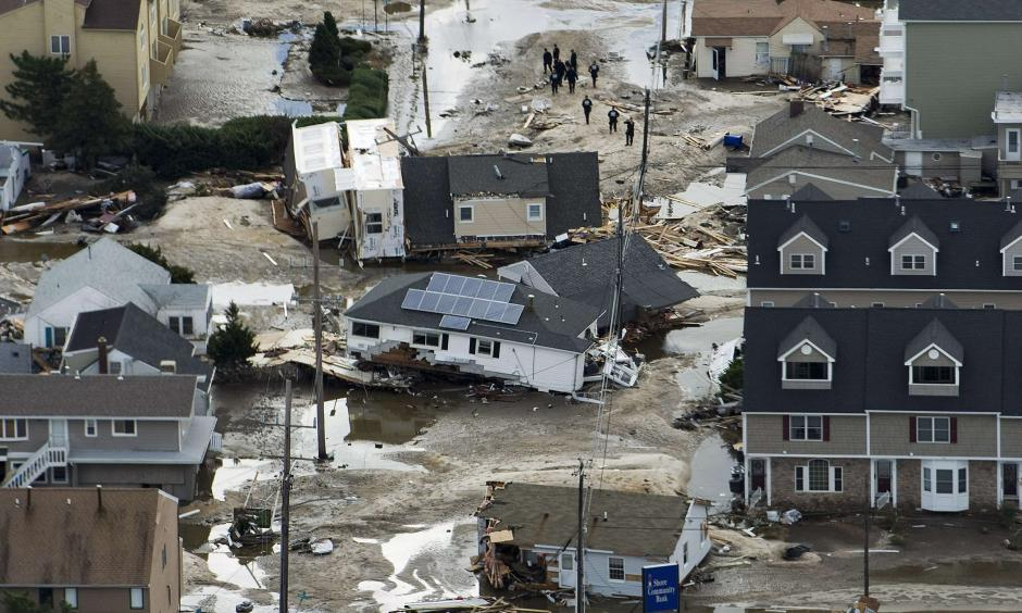 An aerial view shows destroyed homes Oct. 31 after Hurricane Sandy came ashore in Seaside Heights, N.J. Recovery efforts after the widespread devastation and destruction caused by the super storm could be among the most expensive in United States history. Sandy has claimed at least 40 lives in the United States as of Oct. 31 and one death in Canada. Photo: Steve Nesius, CNS photo, Reuters)