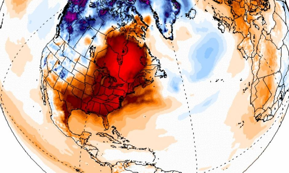 Temperature anomalies in degrees Celsius for Dec. 24, 2015, showing the large area of unusually mild weather across the U.S. and Canada. Image: Climate Reanalyzer