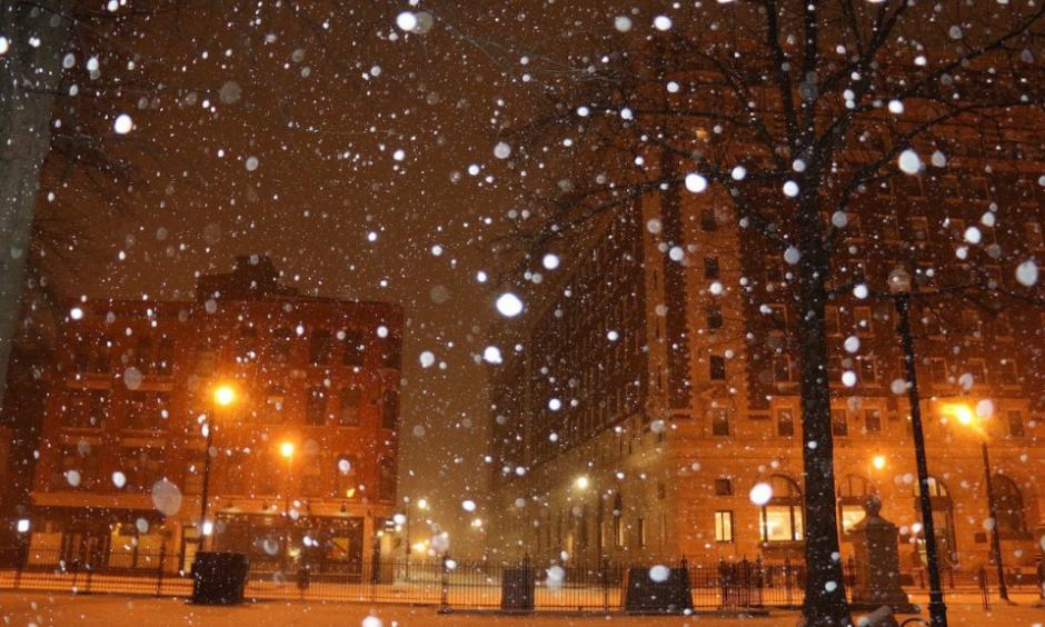 These photos of downtown Worcester, taken at 6 a.m., show the early effects of what could be the state's largest snowfall this year. Photo: Masslive
