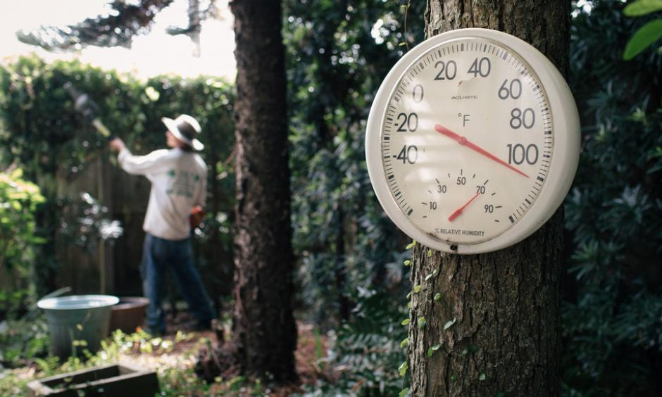 Mr. Guerra at work. Seasonal temperatures in coastal southeast Texas are about 1.5 to 2 degrees Fahrenheit warmer than they were in the early part of the 20th century, the state climatologist said. Photo: Alyssa Schukar, The New York Times