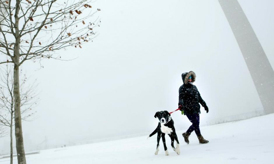 Patti White walked her dog Elwood around the Gateway Arch in St. Louis on Sunday. Blowing snow snarled travel across Kansas and Missouri as a winter storm made its way eastward. Credit: Colter Peterson, St. Louis Post-Dispatch, via Associated Press