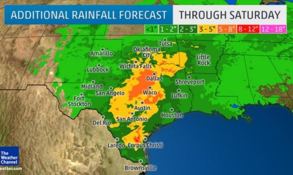 Another round of significant rain for beleaguered Texas next week. Image: The Weather Channel