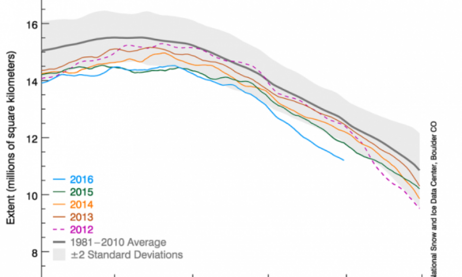 This graph shows Arctic sea ice extent as of May 31, along with daily ice extent data for previous years. Image: NSIDC