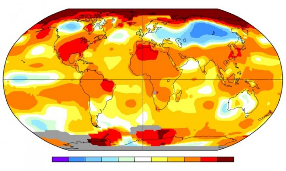 How temperatures across the planet varied from normal during October 2016. Image: NASA