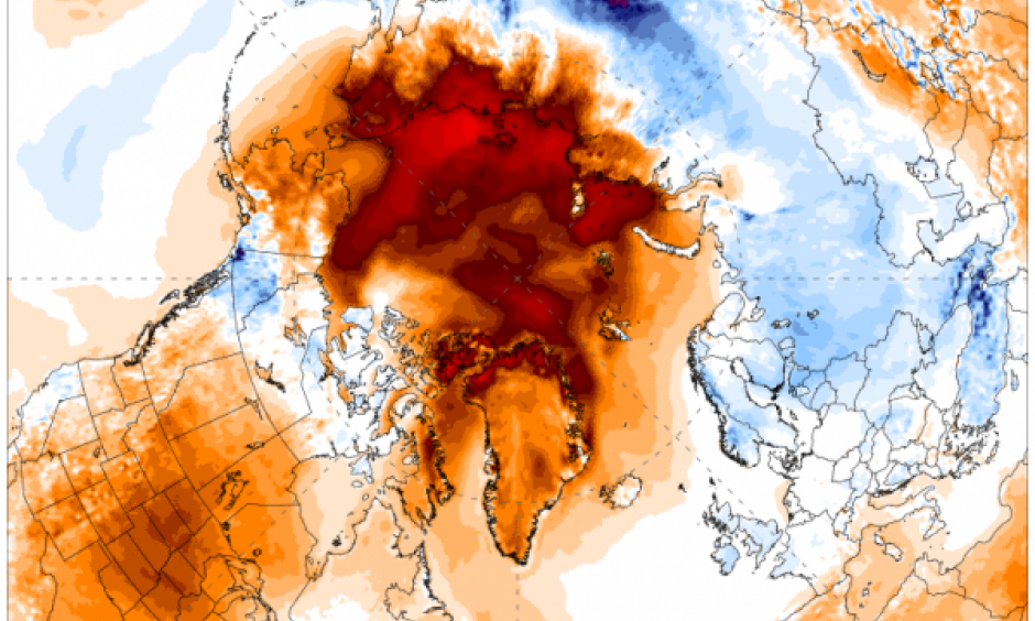 The temperature forecast on November 1, 2016 for the next five days in the Arctic shows unrelenting warmth, which will continue to slow sea ice growth. Image: Climate Change Institute