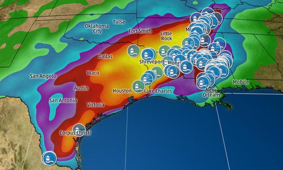 Estimated Rainfall and Flood Reports. Image: The Weather Channel