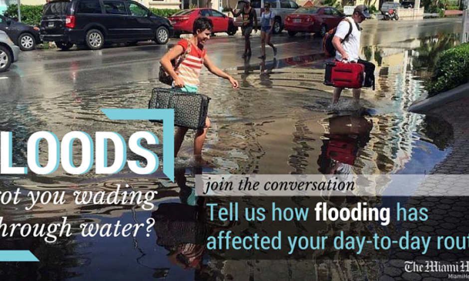 Southeast Florida residents are facing disruptive flooding this fall, over repeated days. Here, the Miami Herald (earlier today) invites Facebook followers to share their flood stories. Photo: Miami Herald