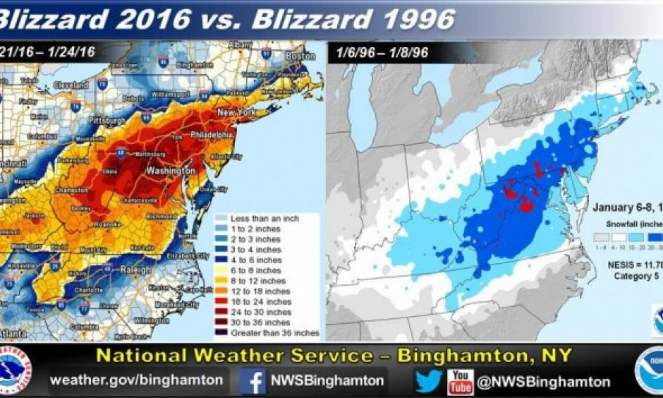Erik Heden, a meteorologist with the National Weather Service forecast office in Binghamton, N.Y., created a comparison between the snowfall outputs of the two storms which show a remarkable match. Image: National Weather Service