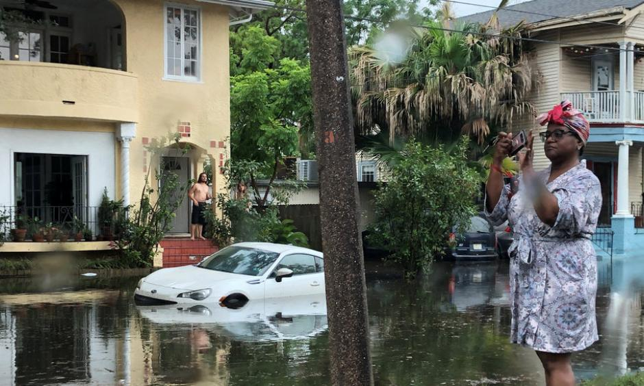 A flooded street in New Orleans on Wednesday. Credit: Ryan Pasternak