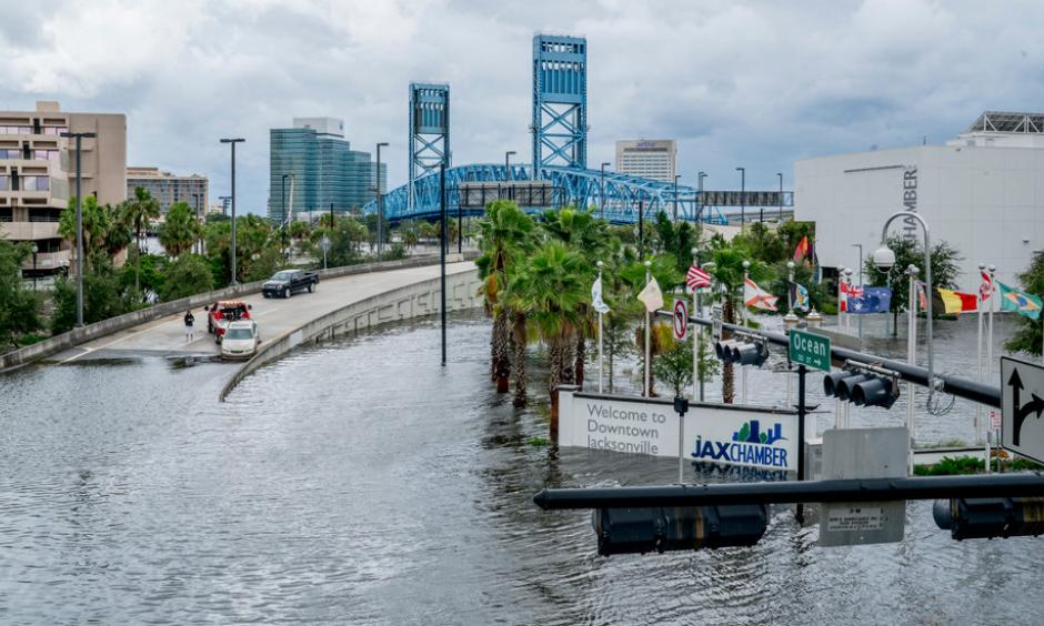 Overflow from the St. Johns River in downtown Jacksonville, Fla., on Monday. Photo: Johnny Milano, The New York Times