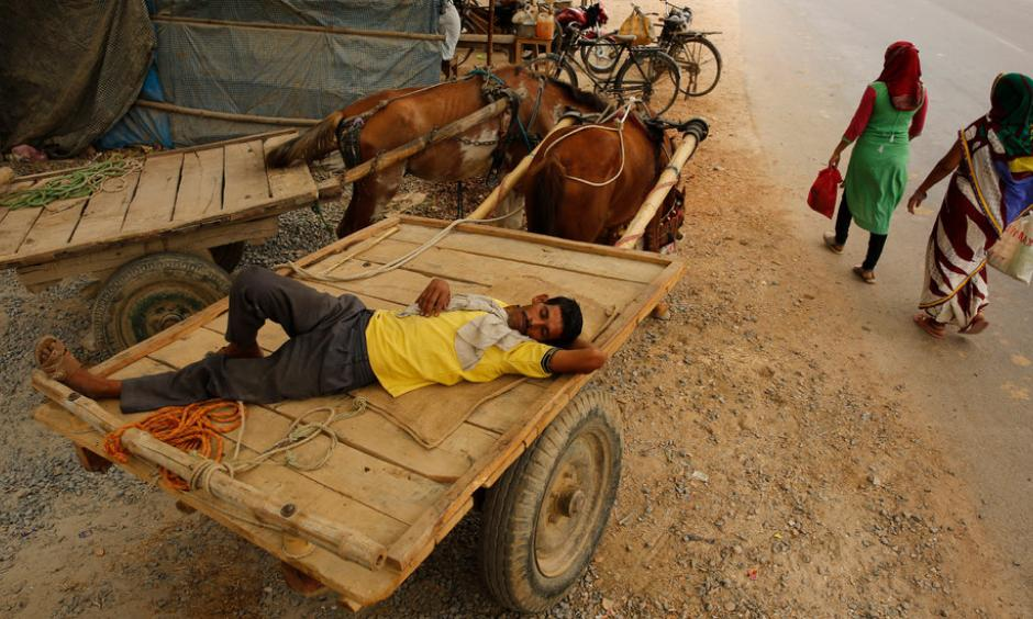 Napping in the heat in Uttar Pradesh, India, on Wednesday. Credit: Rajesh Kumar Singh, Associated Press