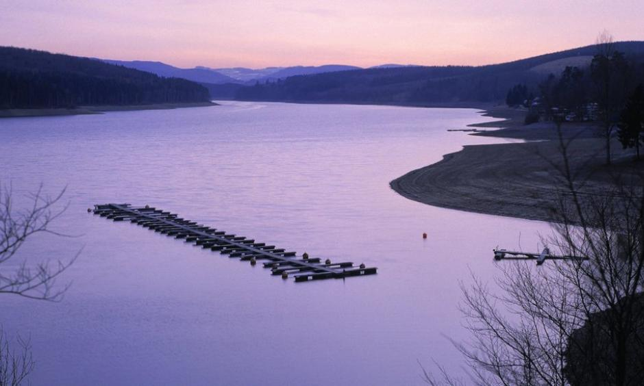 The Sorpe reservoir in northwest Germany, one of four freshwater reservoirs observed in a recent study that found that carbon dioxide absorbed in lakes, rivers and streams can affect entire ecosystems. Photo: Mauritius Images GmbH, Alamy
