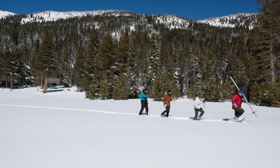 On March 5, 2018 a team of scientists take the third snow survey of the season at Phillips Station in El Dorado County, 90 miles east of Sacramento. Photo: Kelly M. Grow, California Department of Water Resources