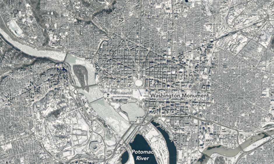 Washington, D.C. from space on Sunday, after being buried under up to 2 feet of snow. Photo: NASA Earth Observatory