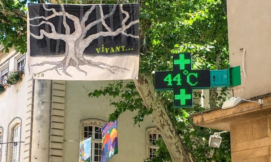 A sign outside a pharmacy in Carpentras, south-eastern France, shows a temperature of 44C on Friday. Photograph: Patrick Valasseris/AFP/Getty Images