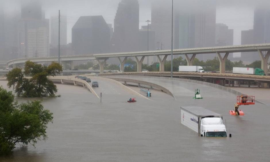 Interstate highway 45 is submerged from the effects of Hurricane Harvey seen during widespread flooding in Houston, August 27, 2017. Photo: Richard Carson, Reuters