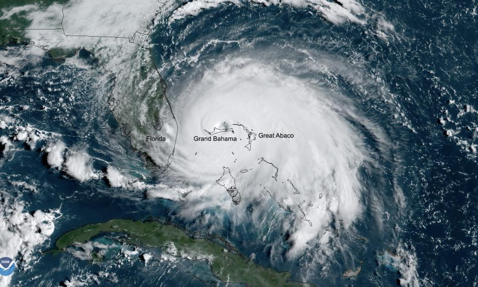 Hurricane Dorian was the strongest hurricane to hit the Bahamas since records began in 1851. Credit: NOAA GOES East Satellite