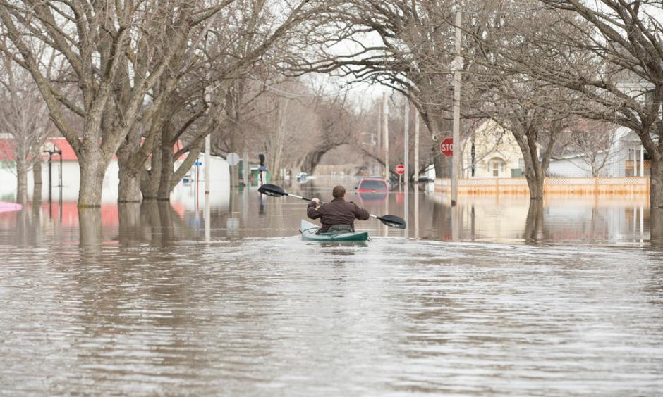 Flooding in Hamburg, Iowa, on Monday. Credit: Tim Gruber for The New York Times