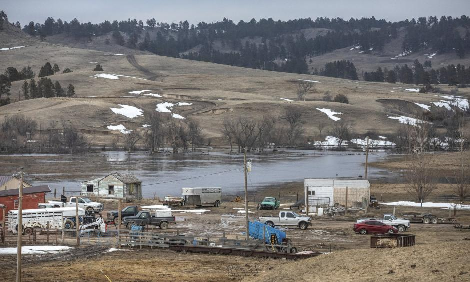 In this Monday, March 25, 2019 photo, water from White Clay Creek pools near the ranch of Ernie Little on the Pine Ridge Indian Reservation, near Pine Ridge, S.D. Photo: Ryan Hermens, Rapid City Journal via AP