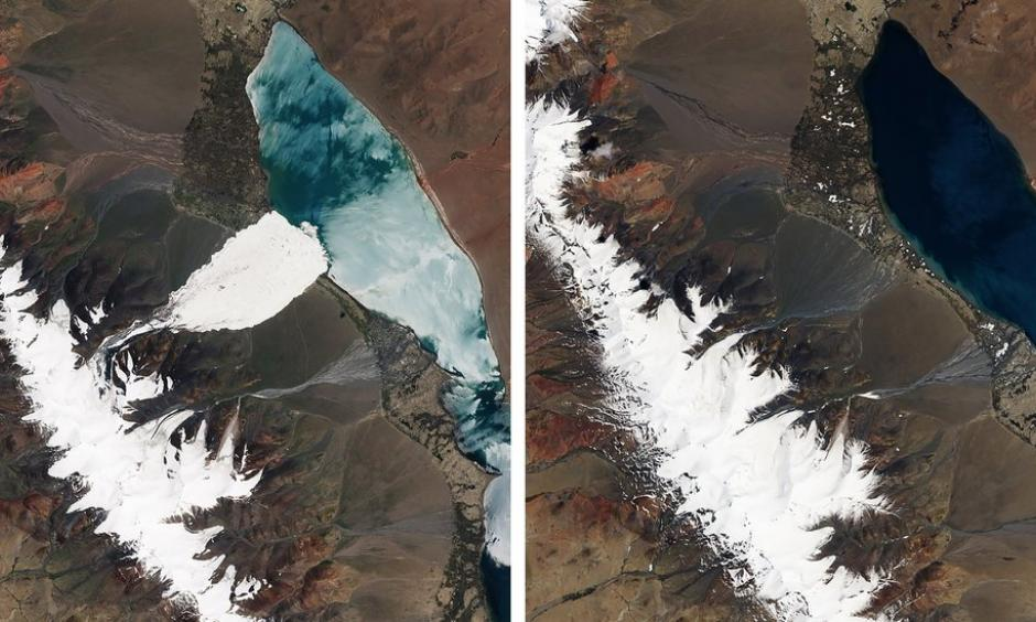 Another view from July 2016, left, showing the aftermath of one of the avalanches. The image at right is from June 2016, before both glaciers collapsed. Image: NASA Earth Observatory