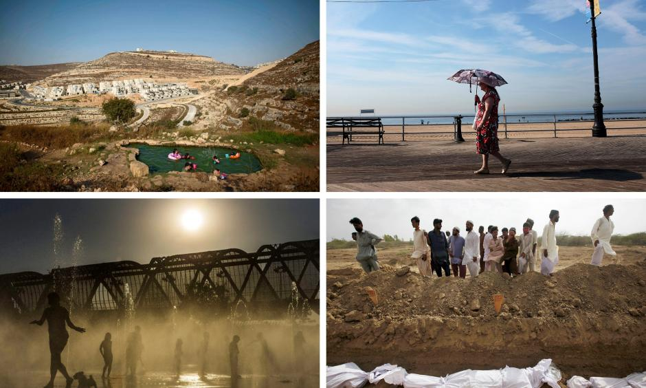 The first nine months of 2015 were the hottest since 1880. Clockwise from top left: a water spring north of Jerusalem; the boardwalk at Coney Island in New York City; a graveyard in Karachi, Pakistan; and a fountain in Madrid. Photos clockwise from top left: Abir Sultan, European Pressphoto Agency; Spencer Platt, Getty Images; Akhtar Soomro, Reuters; Emilio Naranjo, European Pressphoto Agency