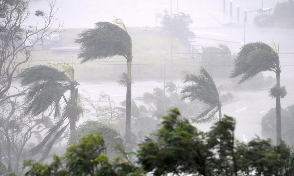 Winds of up to 160 miles an hour hit the resort town of Airlie Beach on Tuesday, damaging roofs and knocking over palm trees. Photo: Dan Peled, Australian Associated Press, via Reuters