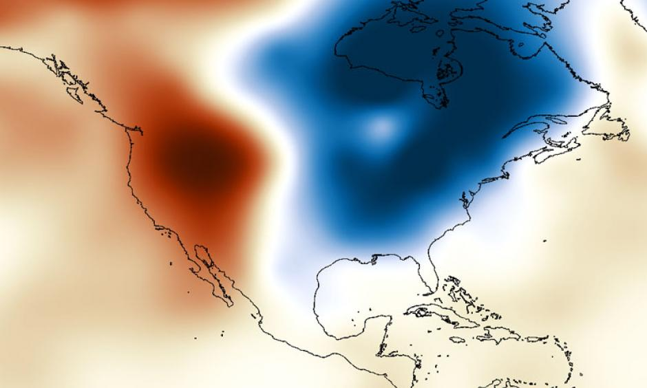 Cold east, warm west. Photo: WxShift