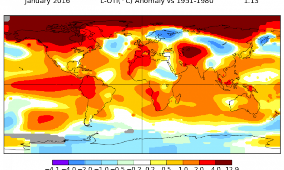 January 2016 temperatures across the globe. Image: NASA GISS
