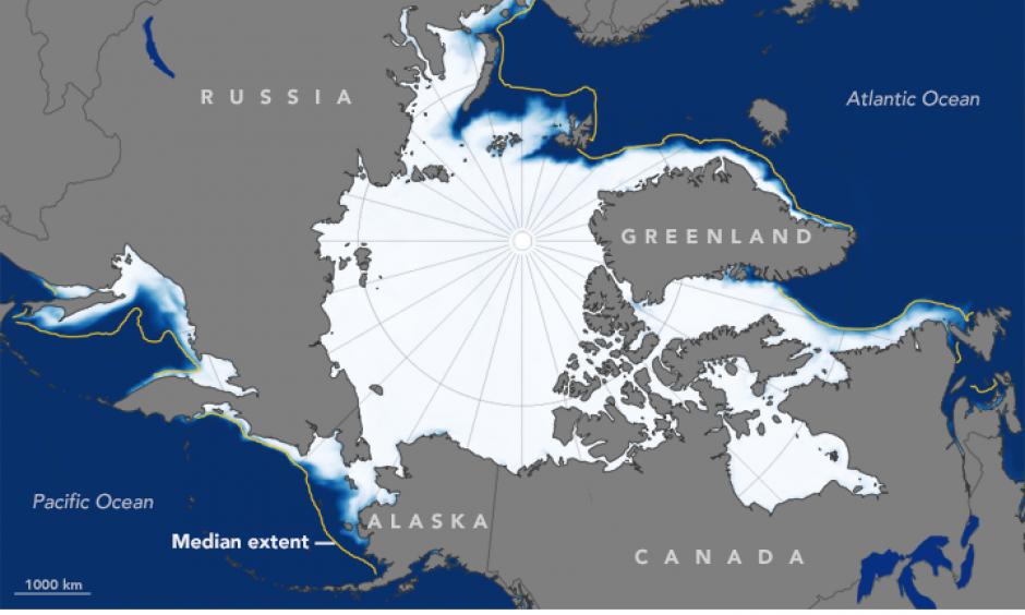 January Arctic sea ice extent. The orange line shows the 1981-2010 average. Photo: NASA Earth Observatory