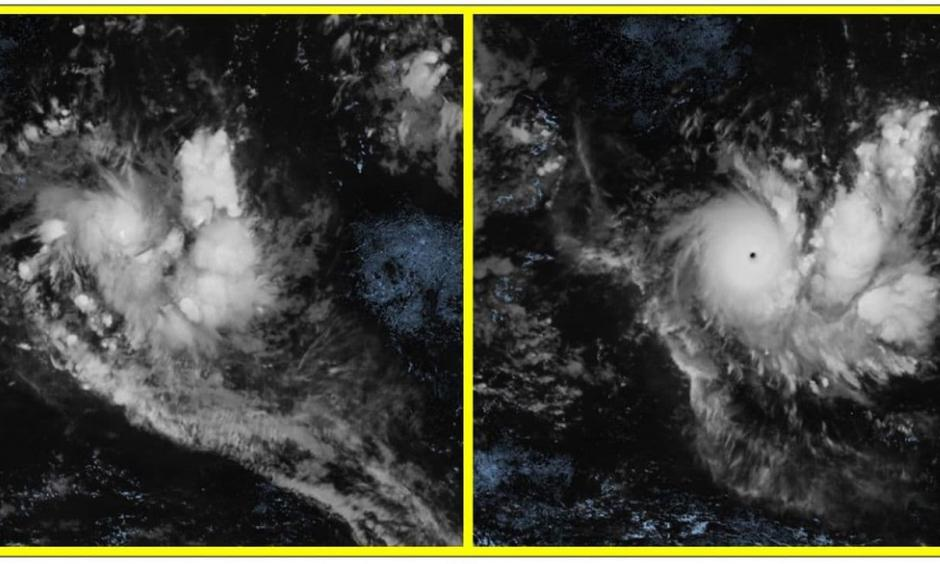 Tropical Cyclone Ambali on Thursday morning as a tropical storm (left) and 24 hours later on Friday morning as a Category 5-equivalent cyclone (right). Credit: CIRA/RAMMB/EUMetSat